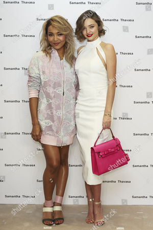 Japanese singer Crystal Kay and Australian supermodel Miranda Kerr pose for the cameras during a talk show for the 2016 Spring Summer Samantha Thavasa Collection in Omotesando GATES building, Tokyo, Japan