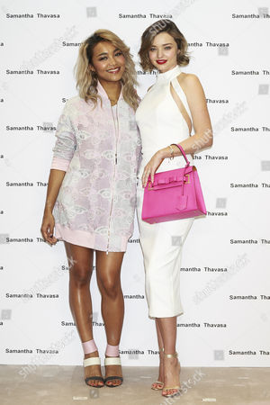 Stock Image of Japanese singer Crystal Kay and Australian supermodel Miranda Kerr pose for the cameras during a talk show for the 2016 Spring Summer Samantha Thavasa Collection in Omotesando GATES building, Tokyo, Japan