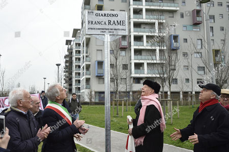 Editorial photo of Naming ceremony of a garden in memory of Franca Rame, Milan, Italy - 16 Mar 2016