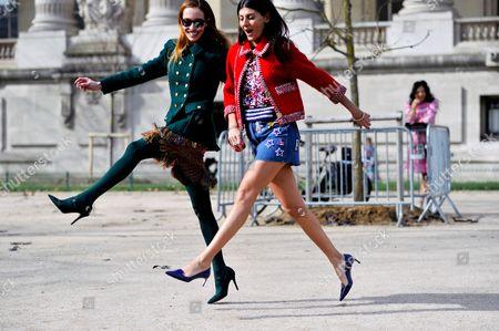 Giovanna + Battaglia, Micol Sabbadini, having fun at the Grand Palais, after Chanel, ready to wear AW16 FW16, 2016.