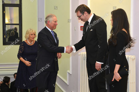 Prince Charles and Camilla Duchess of Cornwall attend a dinner hosted by the Prime Minister of Serbia Aleksandar Vucic at Dom Garde, Belgrade