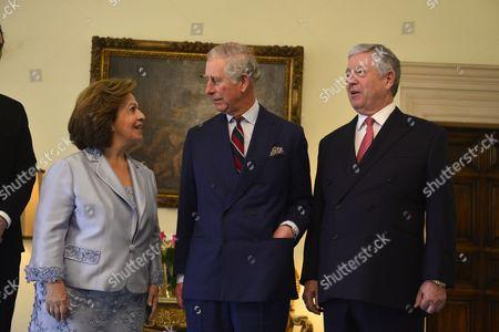 Prince Charles meets HRH Crown Prince Alexander of Serbia and Her Royal Highness Crown Princess Katherine of Serbia at the Royal Palace, Belgrade