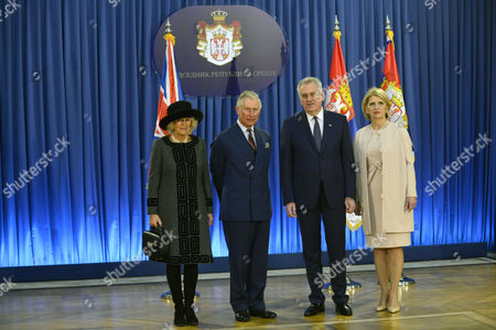 Prince Charles, Camilla Duchess of Cornwall, President Tomislav Nikolic, and his wife Dragica Nikolic at The President's House, Belgrade, Serbia