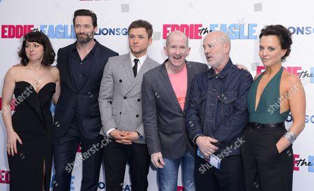 Jo Hartley, Hugh Jackman, Director Dexter Fletcher, Taron Egerton, Keith Allen and Ania Sowinski