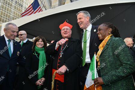 William Bratton, Rikki Klieman, Cardinal Timothy Dolan, Mayor Bill de Blasio, Chirlane McCray