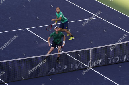 Jamie Murray of Great Britain and Bruno Soares of Brazil in action at the BNP Paribas Open at the Indian Wells Tennis Garden, Indian Wells, California, USA.