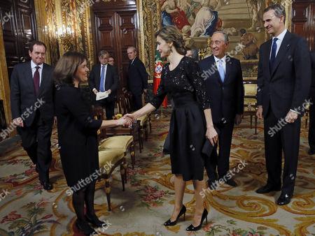 King Felipe VI of Spain, Marcelo Rebelo de Sousa, President of Portugal, Queen Letizia, Soraya Saenz de Santa Maria