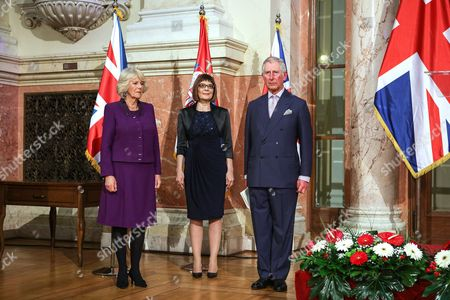 Camilla Duchess of Cornwall, Maja Gojkovic and Prince Charles in Belgrade, Serbia