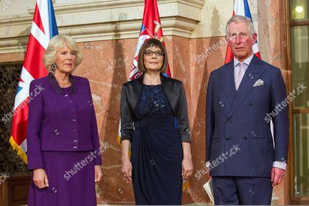 Stock Photo of Camilla Duchess of Cornwall, Maja Gojkovic and Prince Charles in Belgrade, Serbia