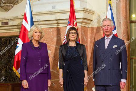 Stock Image of Camilla Duchess of Cornwall, Maja Gojkovic and Prince Charles in Belgrade, Serbia