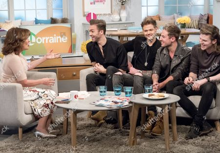 Lorraine Kelly with Lawson - Ryan Fletcher, Andy Brown, Joel Peat, Adam Pitts