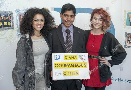 Winner Ammaar Husein 18 From London With 2 Members Of Pop Group Neon Jungle Shereen Cutkelvin And Asami Zdrenka The Diana Awards 2015 Barclays Canary Wharf London.