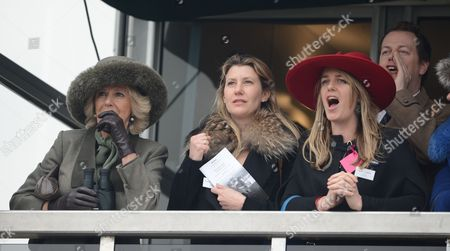 The Duchess Of Cornwall (l) Watches The Racing With Her Daughter Laura Lopez (r) And Her Son Tom Parker-bowles And His Wife Sarah At The Cheltenham Festival On Ladies Day Cheltenham Gloucs. Cheltenham Festival 2015:.