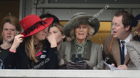 The Duchess Of Cornwall (c) Watches The Racing With Her Daughter Laura Lopez (l) And Her Son Tom Parker-bowles And His Wife Sarah At The Cheltenham Festival On Ladies Day Cheltenham Gloucs. Cheltenham Festival 2015:.