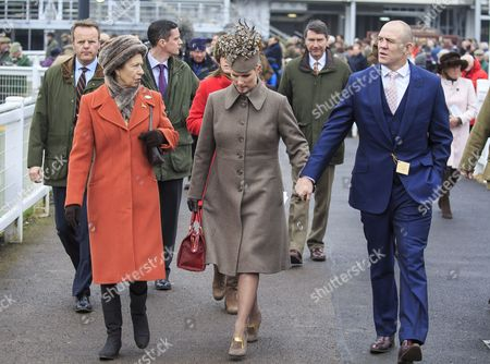 Princess Anne Zara Philips And Mike Tindall At The Cheltenham Festival On Gold Cup Friday Cheltenham . Cheltenham Racing Festival 2015.