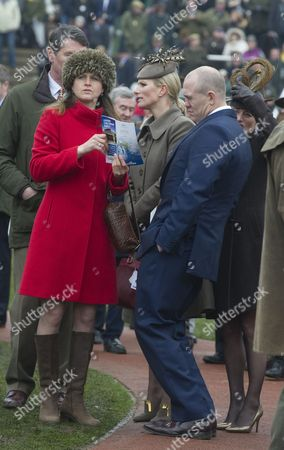 Zara Philips And Mike Tindall Watch The The Vincent O'brien County Handicap Hurdle Race At The Cheltenham Festival On Gold Cup Friday Cheltenham Gloucs. Cheltenham Racing Festival 2015.