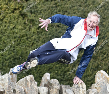 David Hemery Training For The London Marathon In Aid Of His Charity 21st Centurary Legacy. Picture Shows David Hurdling Stone Walls. David Crump 12.3.15 Former Olympic Gold Medalist And Winner Of The Original Superstars In 1973.