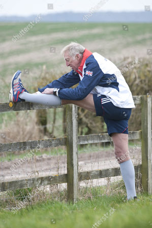 Editorial photo of David Hemery Former Olympic Gold Medalist And Winner Of The Original Superstars In 1973 In Training For The London Marathon In Aid Of His Charity 21st Century Legacy. Picture Shows:- David Warming Up.