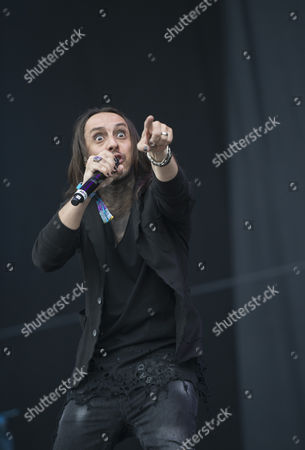 Castle Donington United Kingdom - June 12: Vocalist Andrea Ferro Of Italian Heavy Metal Group Lacuna Coil Performing Live On The Main Stage At Download Festival On June 12