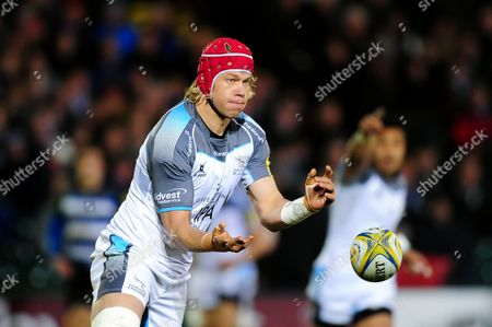 Stock Picture of Mouritz Botha of Newcastle Falcons passes the ball