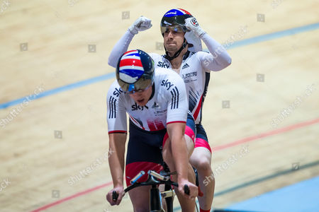 Great Britain's Neil Fachie and Peter Mitchell celebrate winning Gold in the Men's B 1km Time Trial Final.