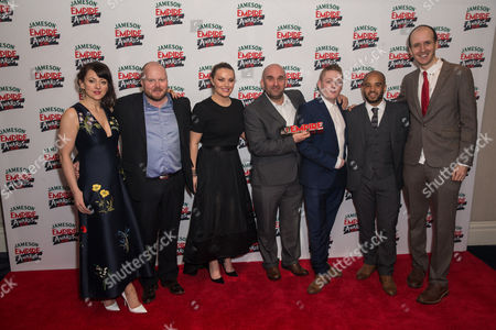 Shane Meadows, Thomas Turgoose and 'This Is England '90' cast with the award for Best TV Series
