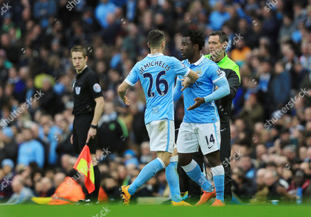 Martin Demichelis of Manchester City is replaced by Wilfried Bony during the Barclays Premier League match between Manchester City and Manchester United played at the Etihad Stadium, Manchester on March 20th 2016