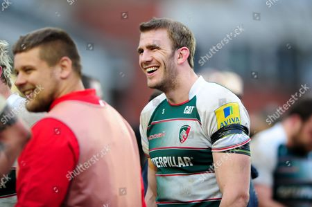 Tom Croft of Leicester Tigers is all smiles after the match