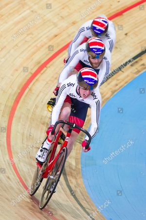 (from left) Great Britain's Louis Rolfe, Jon-Allan Butterworth and Jody Cundy compete in the Team Sprint Qualification.