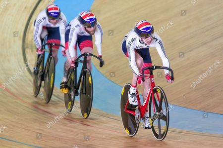 (from right) Great Britain's Louis Rolfe, Jon-Allan Butterworth and Jody Cundy compete in the Team Sprint Qualification.