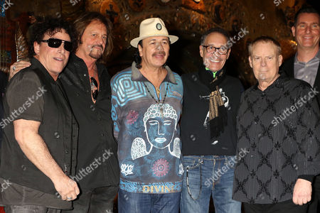 Neal Schon, Gregg Rolie, Carlos Santana, Michael Shrieve and Michael Carabello