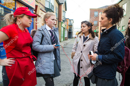 Lauren, Shannon Flynn, and her cronies accost Bethany Platt, Lucy Fallon, in the street. A passing Gemma, DOLLY ROSE CAMPBELL, steams in and sends them packing, but not before Lauren snatches Bethany's mobile