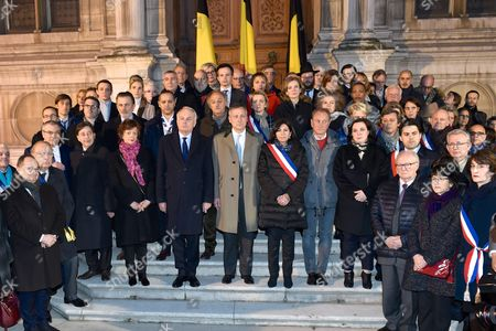 Ariel Goldmann, Pierre Aidenbaum, Jean-Marc Ayrault, Pierre-Yves Bournazel, the Belgian Ambassador to France Vincent Mertens de Wilmars, Anne Hidalgo, Nathalie Kosciusko-Morizet, Bertrand Delanoe, Patrick Klugman and Roger Cukierman pay tribute to victims of terrorist attacks in Brussels at Paris City Hall