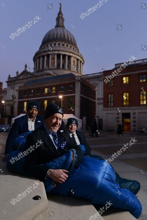 Stock Image of Sir Tony Hawkshead, Chief Executive of Action For Children (blue tie-middle), Former Dragon's Den Dragon & Co CEO of Outsourcery Piers Linney (shorter- left of frame) & tim Griffin, Vice President & General Manager of Dell UK (taller, right of frame)