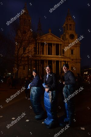 Stock Picture of Sir Tony Hawkshead, Chief Executive of Action For Children (blue tie-middle), Former Dragon's Den Dragon & Co CEO of Outsourcery Piers Linney (shorter- left of frame) & tim Griffin, Vice President & General Manager of Dell UK (taller, right of frame)