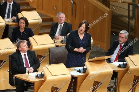 (front row) Alex Rowley MSP, Deputy Leader of the Scottish Labour Party, Kezia Dugdale MSP, Leader of the Scottish Labour Party, and Iain Gray, (2nd row) Jenny Marra and Graeme Pearson