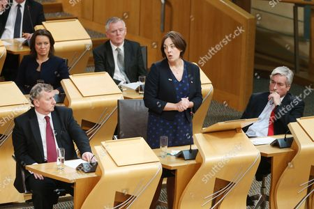 Motion of Thanks before the Dissolution of Parliament - (front row) Alex Rowley MSP, Deputy Leader of the Scottish Labour Party, Kezia Dugdale MSP, Leader of the Scottish Labour Party, and Iain Gray, (2nd row) Jenny Marra and Graeme Pearson