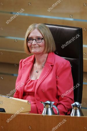 Stock Image of Motion of Thanks before the Dissolution of Parliament - Rt Hon Tricia Marwick, The Presiding Office of The Scottish Parliament