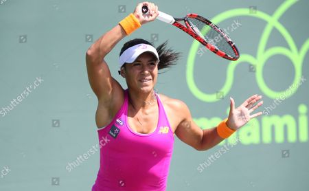 Stock Picture of Heather Watson Beats Petra Cetkovska in straight sets to reach 2nd round where she will play Sloane Stephens from the USA at the  Itau Miami Open on Wednesday 23rd March 2016