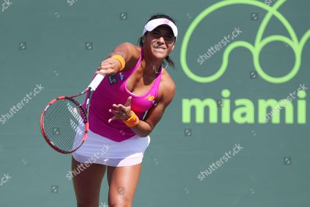 Stock Image of Heather Watson Beats Petra Cetkovska in straight sets to reach 2nd round where she will play Sloane Stephens from the USA at the  Itau Miami Open on Wednesday 23rd March 2016