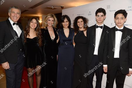 Steve Varsano, Lisa Tchenguiz with daughter Ariella, Shamim Sarif, Hanan Kattan, Ethan Sarif-Kattan and Luca Sarif-Kattan