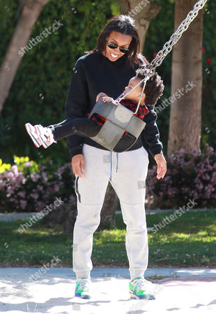 Kelly Rowland and son Titan Jewell Witherspoon at Coldwater Canyon Park