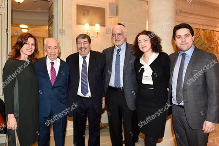 Israelian Ambassador of Israel in France Aliza Bin Noun, former President of Israel Shimon Peres, Rabbi Michel Serfati, rabbi Delphine Horvilleur, Deputy Mayor Patrick Kulgman and Anne Hidalgo