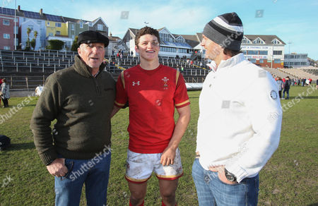 Stock Picture of Jim Botham of Wales with his father Liam Botham and grandfather Sir Ian Botham after he made his debut for Wales U18s against Scotland