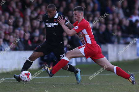Leyton Orient's Jay Simpson and Accrington Stanley's Matty Pearson during the Sky Bet League two match between Accrington Stanley and Leyton Orient played at the Wham Stadium, Accrington on March 25th 2016