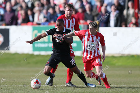 Leyton Orient's Jay Simpson and Accrington Stanley's Scott Brown during the Sky Bet League two match between Accrington Stanley and Leyton Orient played at the Wham Stadium, Accrington on March 25th 2016