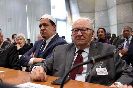 Imam Hassen Chalghoumi with Roger Cukierman CRIF President. Former Israeli President and Nobel Peace Prize laureate Shimon Peres has addressed the UN's education, science and culture agency in Paris to promote peace, as Europe reels from a spate of extremist attacks.