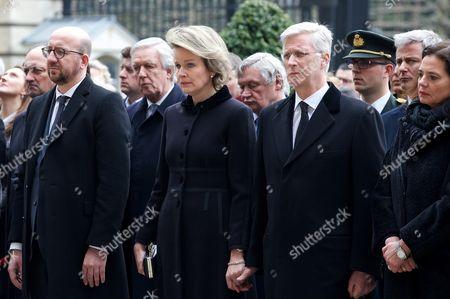 Charles Michel, Queen Mathilde, King Philippe, Christine Defraigne
