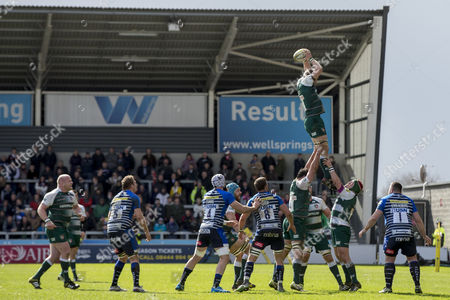Tom Croft gathers the ball in the line out during the Aviva Premiership match between Sale Sharks v Leicester Tigers played at The A J Bell Stadium, Salford on March 27th, 2016