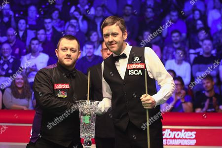 Mark Allen and Ricky Walden handshake before the Snooker Players Championship Final at EventCity, Manchester